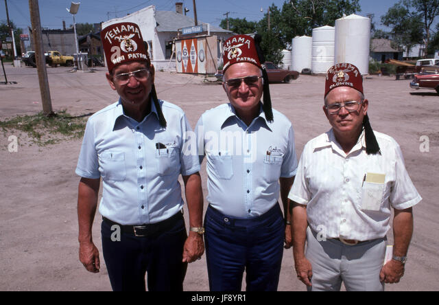 Shriners from California wearing fez hats - Stock Image