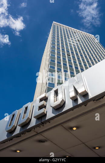 Odeon sign outside Marble Arch tower (demolished 2017). London, UK - Stock Image