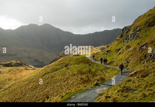 Y Lliwedd in the Snowdon range.  From the Pyg track, Snowdon, Snowdonia, North Wales, UK - Stock Image