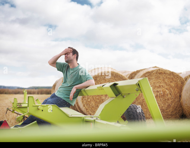 Tired farmer during harvesting - Stock Image