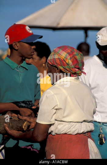St Lucia market woman vendor creole dress Saint Lucia - Stock Image