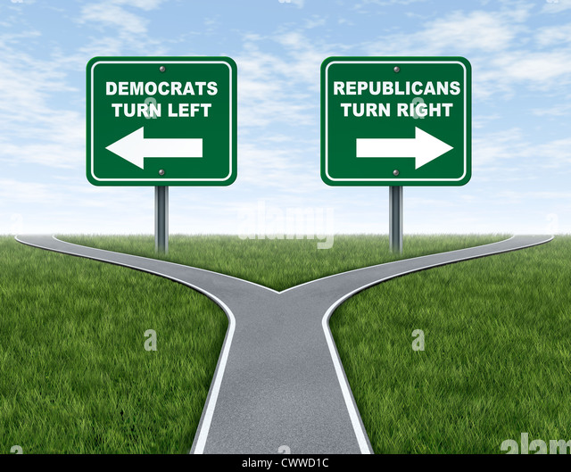 Democrats and Republicans election choices represented by a road that splits into two camps with the Democrat leaning - Stock Image