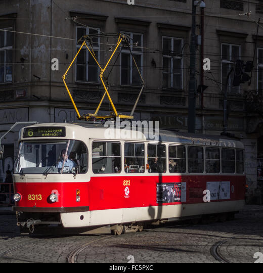 Nostalgic Tram in Prague - Stock Image