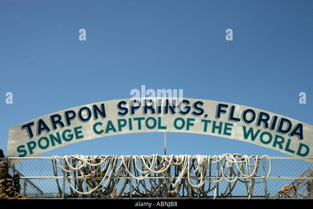 Tarpon Springs Florida Sponge Capital of the World Sign fl - Stock Image