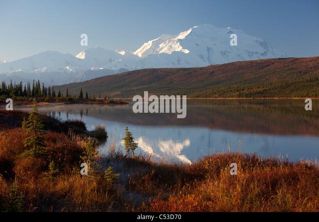 Scenic view of northside Mt. McKinley reflecting in Wonder Lake, Denali National Park and Preserve, Interior Alaska, - Stock Image