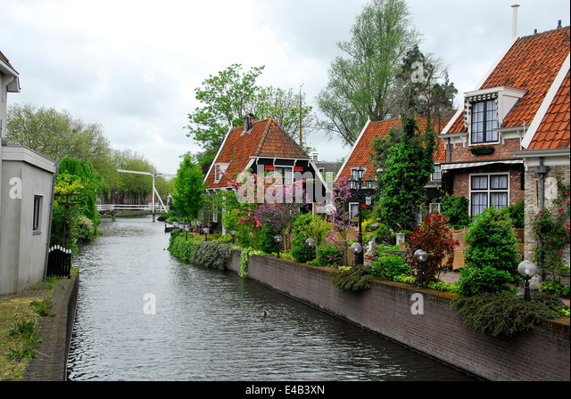 Canal in the Town of Edam, Netherlands - Stock Image
