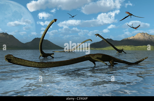 A Group Of Tanystropheus Reptiles. - Stock Image