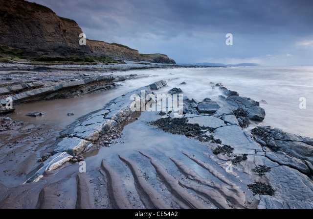 Stormy evening at Kilve on the Somerset Coast, England. Summer (June) 2011. - Stock Image
