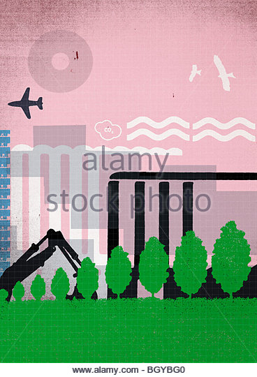 City park with highrises - Stock Image