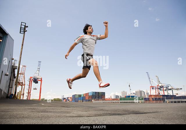 Man athlete jumping - Stock Image