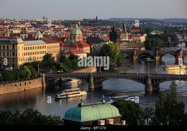Czech Republic, Prague, Old Town skyline, Vltava River - Stock Image