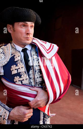 Bullfighter wearing traditional clothing at opening ceremony, Las Ventas bullring, Madrid - Stock Image