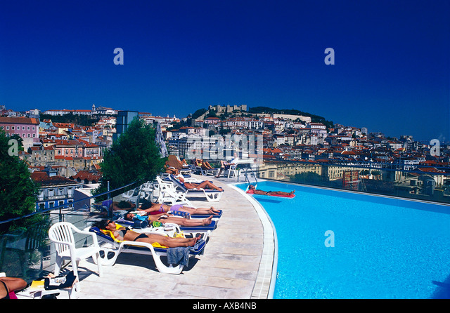 Rooftop terrace and swimming pool stock photos rooftop terrace and swimming pool stock images for Lisbon boutique hotel swimming pool