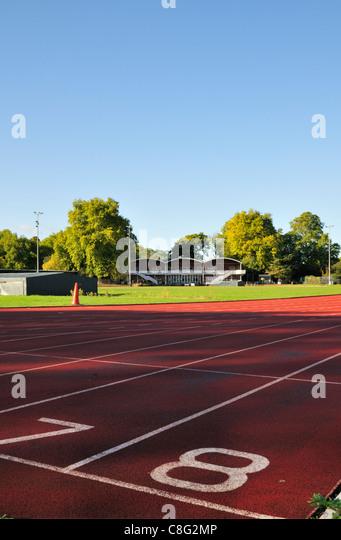 Battersea Park athletics track and field, London SW3, United Kingdom - Stock Image