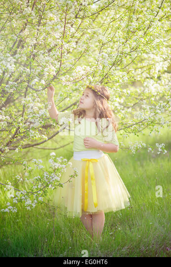 Small girl (6-7) in blossoming orchard - Stock Image
