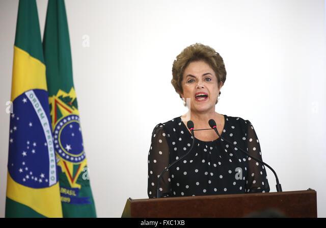 Brasilia, Brazil. 13th April, 2016. Brazilian President Dilma Rousseff during a ports authority event at the Planalto - Stock Image