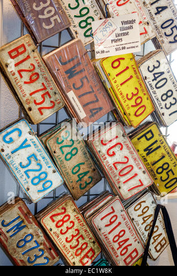 Illinois Hamel Historic Route 66 gift shop souvenir license plates sale display - Stock Image