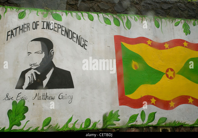 Caribbean Grenada graffiti of Eric Gairy, architect of Independence - Stock Image