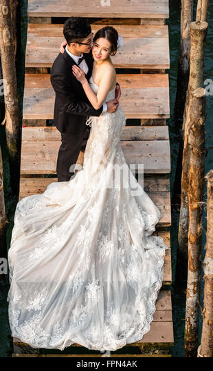 Chinese couple on honeymoon, Venice, Italy - Stock Image