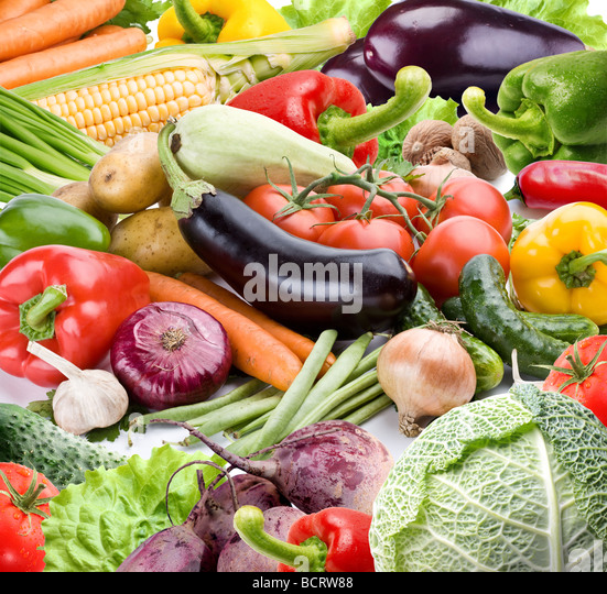 Vegetables on a white background - Stock Image