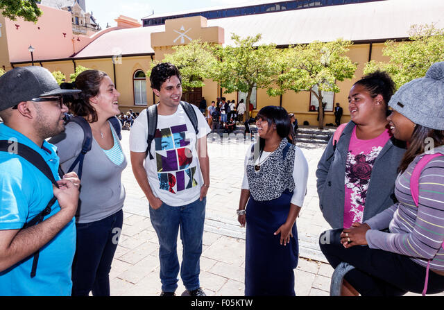 Cape Town South Africa African City Centre center College of Cape Town City Campus student outside teen man woman - Stock Image