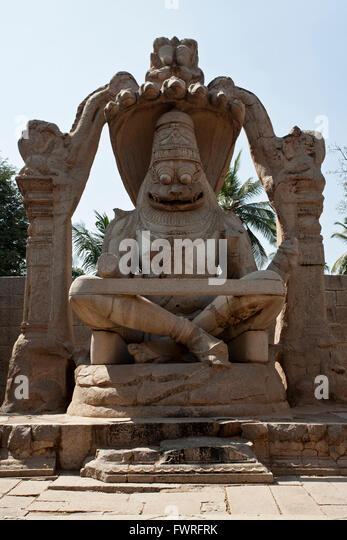 Lakshmi Narasimha statue. (Ugra Narasimha) Hampi. Karnataka. India - Stock Image