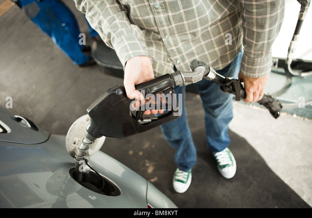 Refueling at gas station - Stock Image