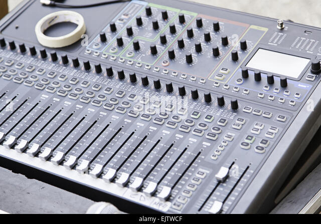 Mixer at a concert, detail of a tool for controlling sound and music show - Stock-Bilder