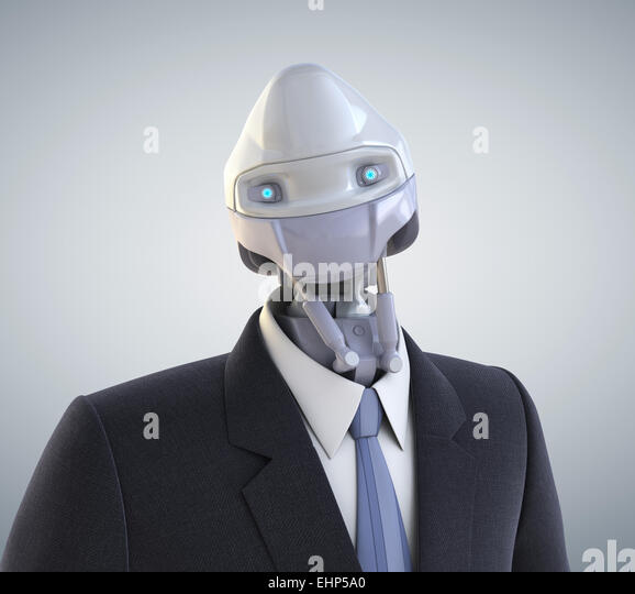 Robot dressed in a business suit. Clipping path included - Stock Image