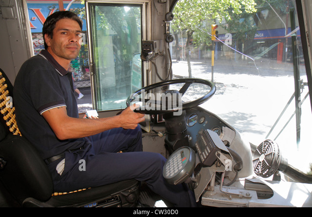 Argentina Mendoza Villa Nueva trolleybus trolley bus public transportation electric vehicle environmentally friendly - Stock Image