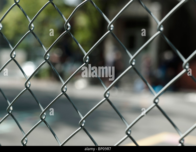 Chain link fence - Stock Image