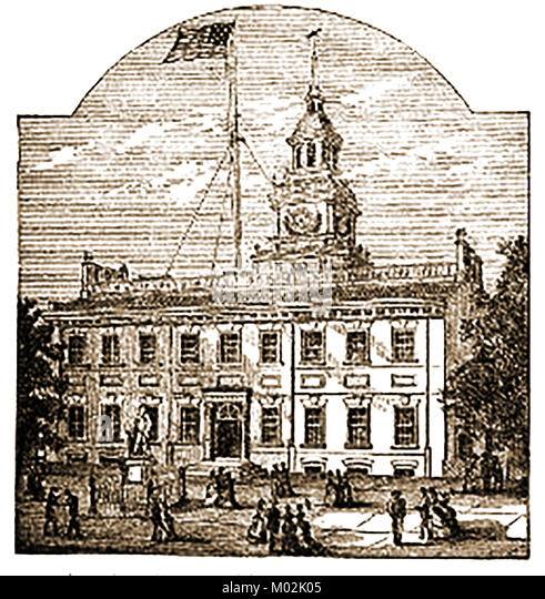 Philadelphia - Independence Hall 1876  where both the Declaration of Independence and the United States Constitution - Stock Image