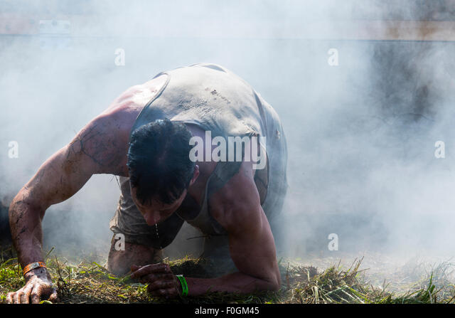 Toronto, Canada. 15th Aug, 2015. Tough Mudder Obstacle Course Aug 15 2015 Toronto Ontario.Runners in Cry Baby obstacle. - Stock-Bilder