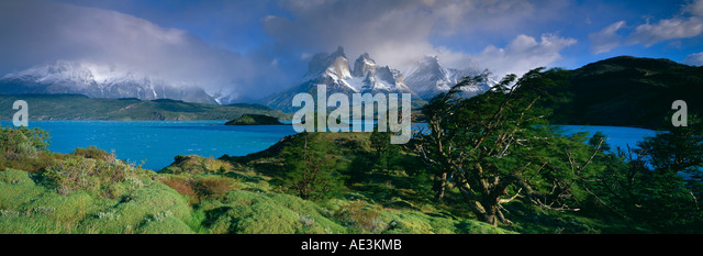 the Cuernos del Paine Lake Pehoe Torres del Paine Patagonia Chile - Stock Image