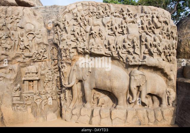 Arjuna's Penance, Mahabalipuram or Mamallapuram, Tamil Nadu, India - Stock Image