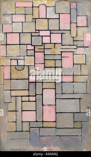 Composition 8, by Piet Mondrian, 1914, Solomon R. Guggenheim Museum, Manhattan, New York City, USA, North America - Stock Image
