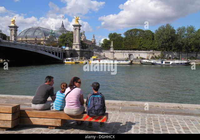 Paris France Europe French Seine River La Rive Gauche Left Bank Berges de Seine Pont Alexandre III bridge galeries - Stock Image