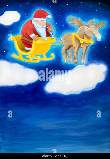 Santa Claus in his sledge on clouds, illustration - Stock-Bilder