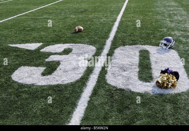 American Football field, minus 30 - Stock Image
