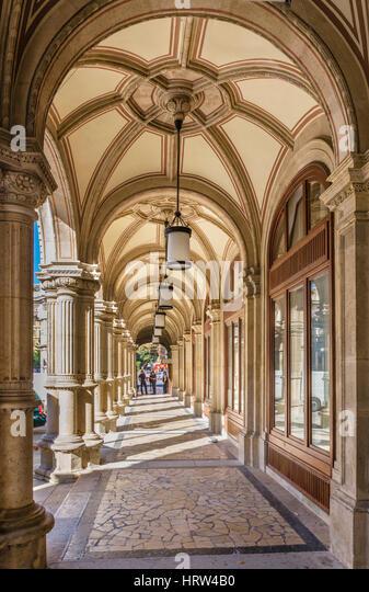 Portico outside the Vienna State Opera, Vienna, Austria - Stock Image