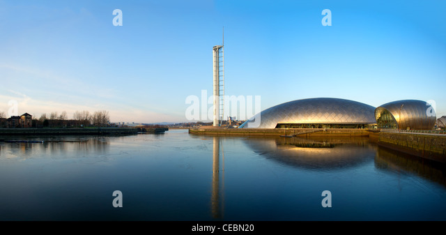 Science Centre & Glasgow Tower, River Clyde, Glasgow, Scotland, UK - Stock Image