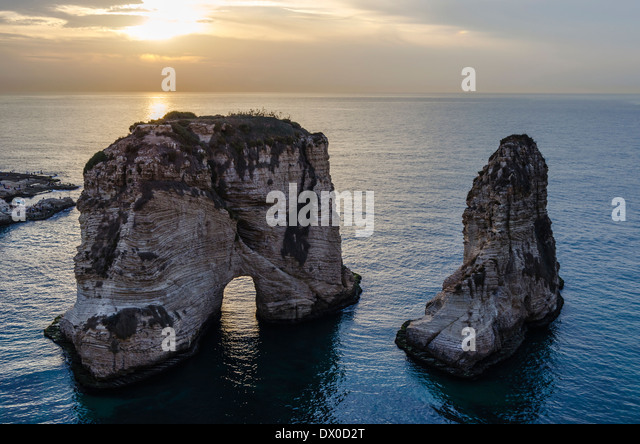 Pigeon Rock in Beirut, Lebanon - Stock Image