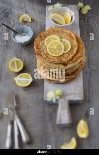 Classic Lemon and Sugar Pancakes - Stock Image