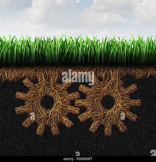 Grassroots support or grass root concept and local community action symbol as a political social organization symbol - Stock Image