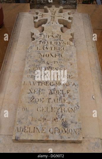 The grave of Henri de Toulouse-Lautrec in Verdelais, France - Stock Image