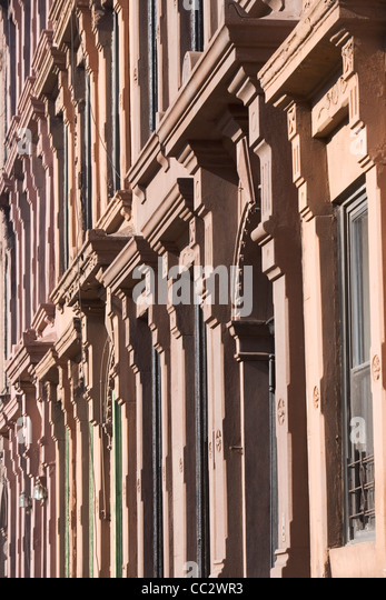 USA, New York City, Row of historic buildings - Stock Image