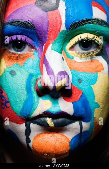 Close up of a girl's painted face - Stock-Bilder