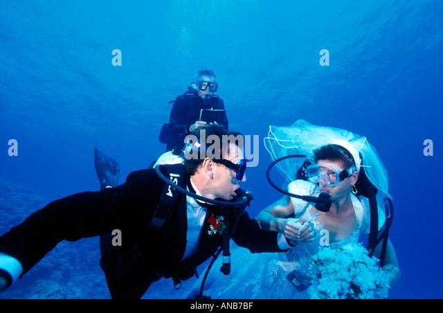 Egypt Red Sea underwater wedding - Stock Image