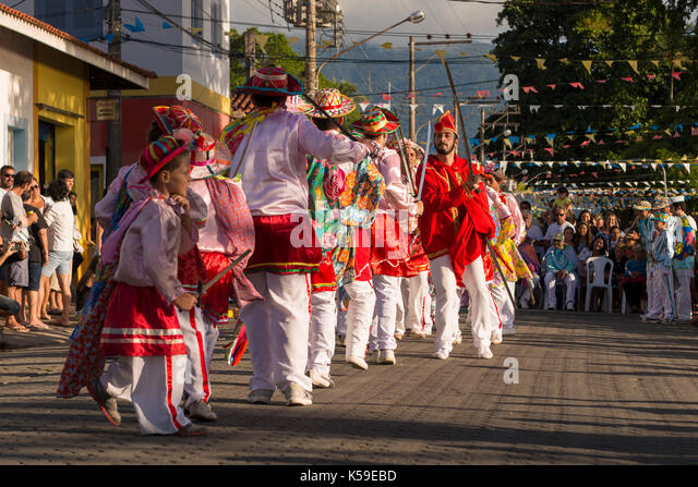 The religious festivity of Congada, from Ilhabela, SP, Brazil - Stock Image
