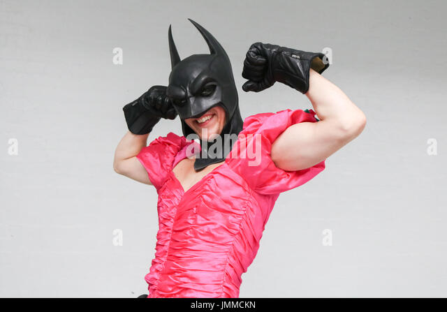 London, UK. 28th July, 2017. Batman in a dress at the annual London film and comic convention in Olympia which focuses - Stock Image
